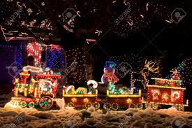 christmas decorated front yard stock photo picture and royalty