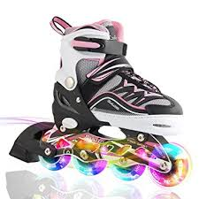 roller skates with flashing lights amazon com kuxuan s cira adjustable kids inline skate with