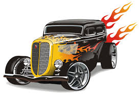 vintage rod with flames wall stickers