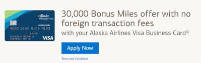Business Card Design Fee Bank Of America Alaska Airlines Business Card Now 30 000 Mile