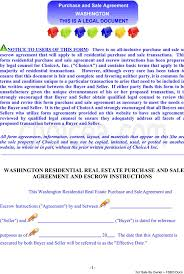 Free Real Estate Sales Contract Template by Download Washington Residential Real Estate Purchase And Sale