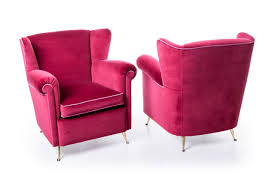 Mcm Furniture Pair Fifties Armchairs Magenta Upholstery Mcm Modernism