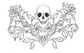 uncolored gothic skull tattoo design in 2017 real photo pictures