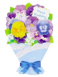 flowers birthday flower bouquet pansy happy birthday greeting card premium