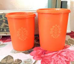 vintage orange tupperware canister set from the 1970 u0027s vintage