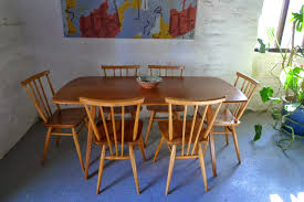 plank dining room table retrokate ercol plank dining table and 6 x stick back chairs