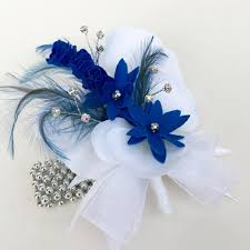 royal blue corsage artificial white orchid silk flower royal blue diamante wrist corsage