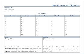 Goals And Objectives Template Excel 10 Best Images Of Weekly Agenda Template With Goals Goals And