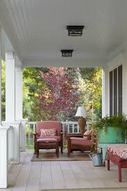 Outdoor Ceiling Lights For Porch by Beaded Ceiling With White Columns Porch Victorian And Black