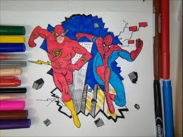 flash spiderman coloring book colouring pages kids