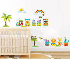 safari animal nursery wall decor woodland animal train wall safari animal nursery wall decor woodland animal train wall sticker for baby kids bedroom rainbow wall art decor peel stick in wall stickers from home