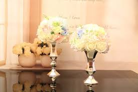 Candle Holders Decorated With Flowers Aliexpress Com Buy Silver Flower Vase Candle Holder Wedding