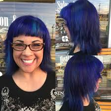 violet blue and teal hair color using pravana vivids short hair