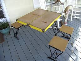 metal folding table outdoor furniture vintage folding table and chair set by handy company