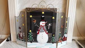 fireguard large 72cm snowman fire guard fireplace home decoration