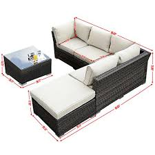Patio Sectional Giantex 4pc Outdoor Wicker Sectional Sofa Set