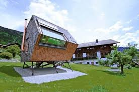 Futuristic Small House Design with Unusual Exterior and Wooden