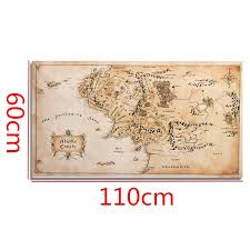 Lotr Home Decor 110x60cm Map Of Middle Earth Lord Of The Rings Silk Cloth Poster