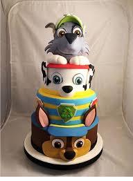 paw patrol layered birthday cake featuring chase marshall
