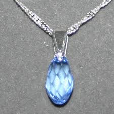 crystal drop pendant necklace images Aladinssilver co uk swarovski crystal jewellery teardrop sapphire 13mm jpg