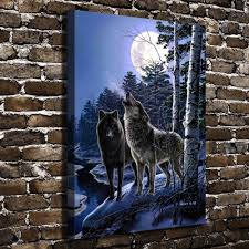 a0318 snow forest natural scenery animals wolf hd canvas print