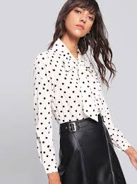 bow tie blouse shein bow tie dot print blouse best tops from shein popsugar