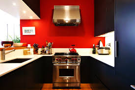 modern small kitchen color design ideas red grey and white