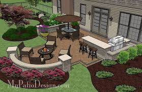 Designs For Backyard Patios Creative Backyard Patio Design With Seating Wall 525 Sq Ft