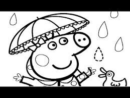 Peppa Pig Rainy Day Coloring Book Page Fun Video For Kids Youtube Rainy Day Coloring Pages