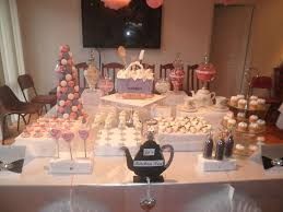 pink and purple candy and dessert buffet bridal wedding shower