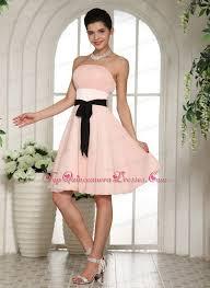 light pink knee length dress pink dama dress for quinces black sash knee length