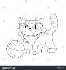 coloring page outline fluffy cat playing stock vector 373710739