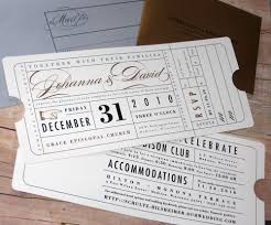 vintage ticket wedding invitation good for a couple that loves
