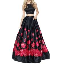 floral printed 2 pieces prom dresses backless party gowns plus