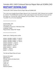 yamaha 40x e40x outboard service repair manual download pdf