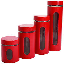 red canister set 4 piece window kitchen flour sugar coffee pasta