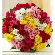 colored roses fnc 101 multi colored bouquet