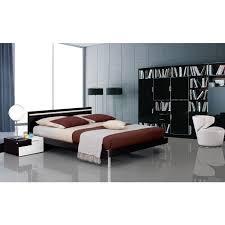 Modern Platform Bed With Lights - mocha modern bed w headboard light