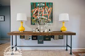 industrial console table with drawers recycled wood and metal drawer console table stuff seth makes