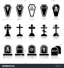 halloween graveyard icons set coffin cross stock vector 216055105