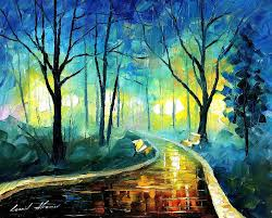 oil paintings painting blue fog palette knife landscape park oil painting on canvas by