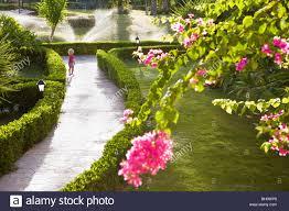 little child walking through the garden flowers stock
