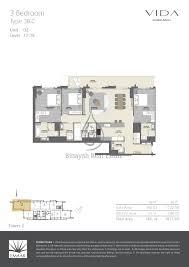 dubai mall tower 2 two bed type 3b c floor plan