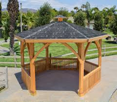 Decks With Attached Gazebos by Wood Pergolas And Pavilions Built To Last Decades Forever Redwood