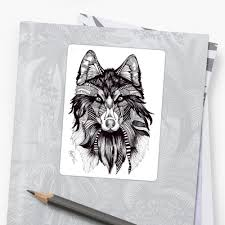 tribal wolf stickers by natsartshop redbubble
