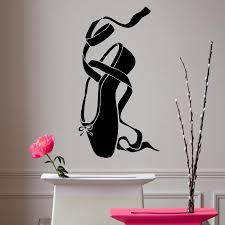 wall stickers home decor vinyl decal ballet dancing shoes wall stickers home decor vinyl decal ballet dancing shoes bowsclassic theater girl room ballet shoe dance sport pointe big stickers for wall big stickers