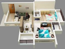 House Plans With Attached Apartment by Simple House Plan With 2 Bedrooms And Garage 3d