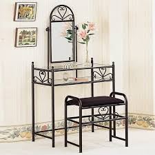 Vanity Mirror With Chair Coaster Frosted Black Wrought Iron Makeup Vanity Table Set With