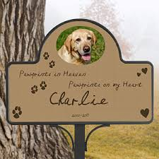 dog memorial personalized pet memorial yard stake pawprints in heaven