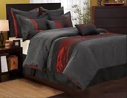 Black And Red Comforter Sets King Nanshing Corell Comforter Set Bed In A Bag 7 Piece Red Grey King